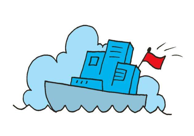 Piirroskuvitus: Kiinan lippu liehuu valtavan valtamerilaivan yllä.