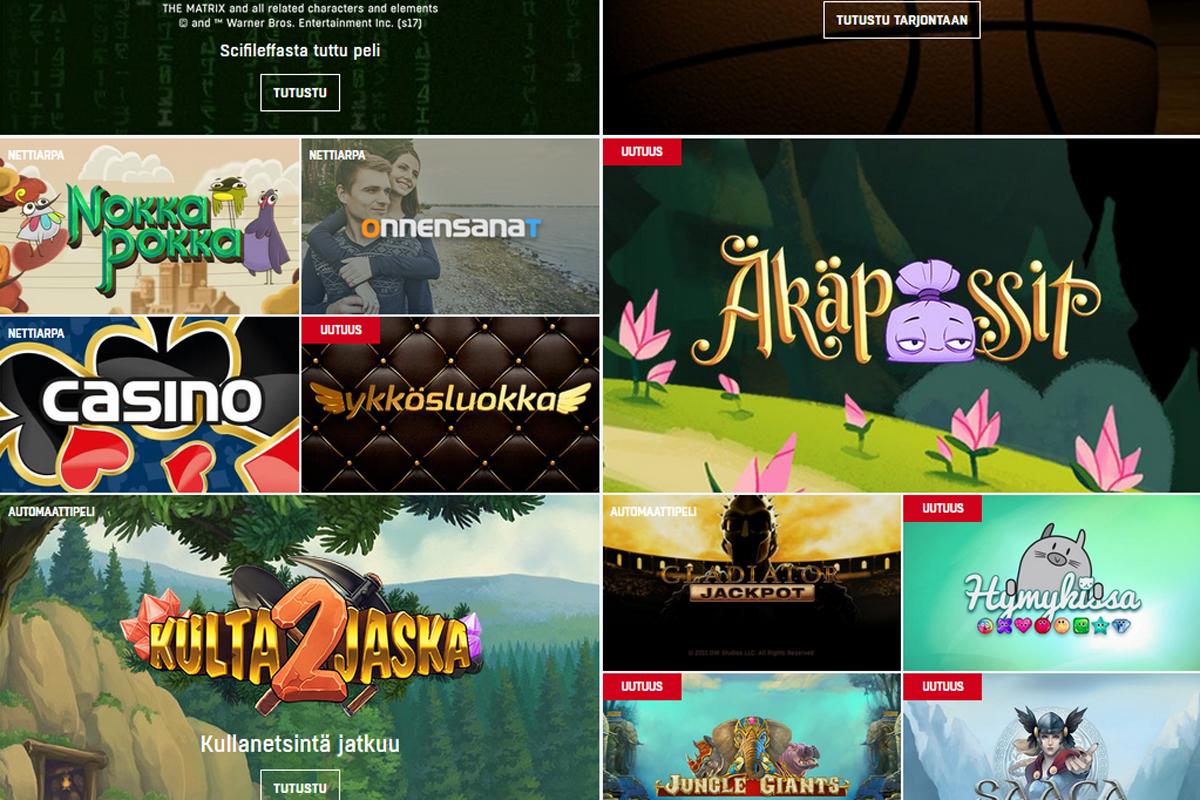 """""""Ajankohtaisia pelejä"""" Veikkauksen nettisivuilla. Ruutukaappaus."""