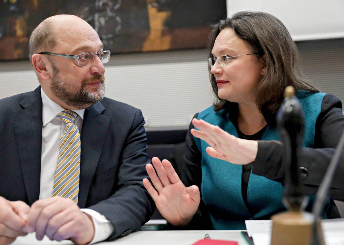 SPD:n johtokaksikko Martin Schulz ja Andrea Nahles liittopäivillä marraskuussa.