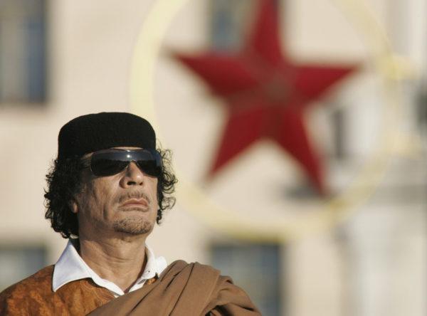 Muammar Gaddafi hallitsi Libyaa vuosina 1969–2011. Gaddafi kuvattuna Minskissä Valko-Venäjällä vuonna 2008.
