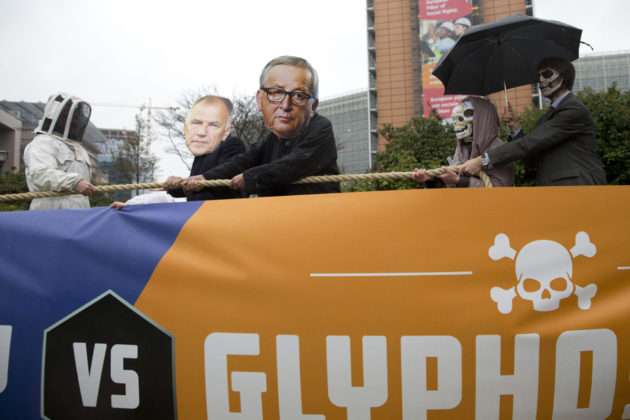 Glyfosaattia vastustavia mielenosoittajia Brysselissä 27. marraskuuta 2017.