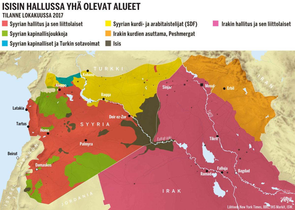 Isisin hallussa yhä olevat alueet. Tilanne lokakuussa 2017.