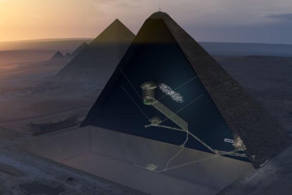 Poikkileikkaus Kheopsin pyramista, josta löytyi tyhjä tila.