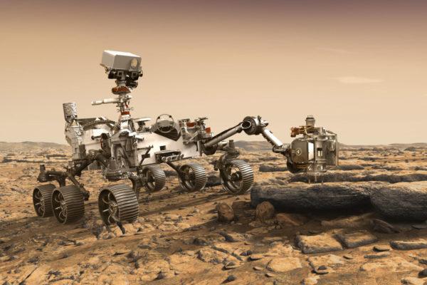 Taiteilijan näkemys vuoden 2020 Mars-mönkijästä. Laite muistuttaa ulkoisesti vuoden 2011 Curiositya, mutta sisältää entistä tehokkaampaa teknologiaa.