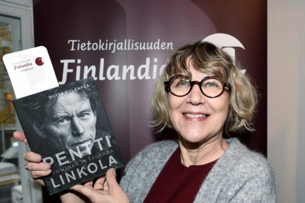 Toimittaja Riitta Kylänpää tietokirjallisuuden Finlandia-ehdokkaiden julkistamistilaisuudessa Helsingissä 6. marraskuuta 2017.