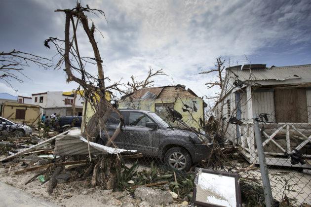 Hurrikaani Irman tuhoja Sint Maartenissa Karibialla 7. syyskuuta 2017. Alankomaiden puolustusministeriön kuva.