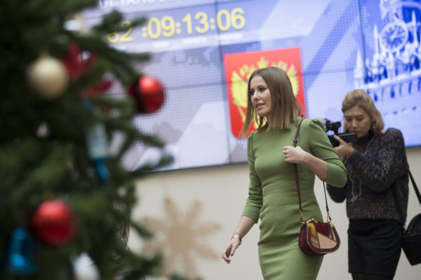 Ksenia Sobtšak Moskovassa 25. joulukuuta 2017.