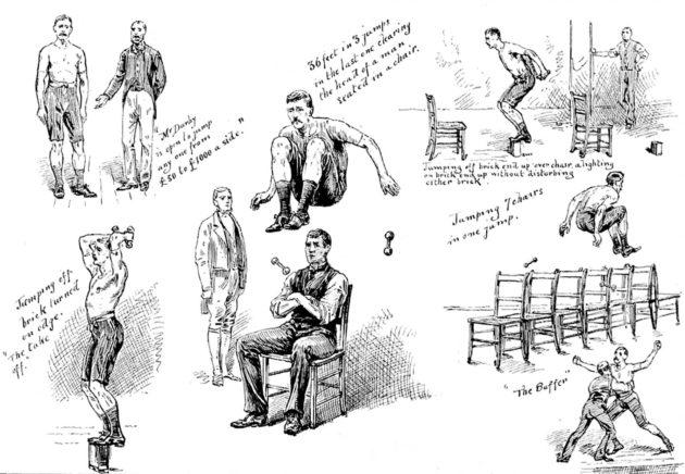 Ammattilaisurheilua vuodelta 1888: Westminster Aquariumissa kilpailtiin voimistelukilpailu-nimikkeen alla muun muassa erinäisissä hyppylajeissa.