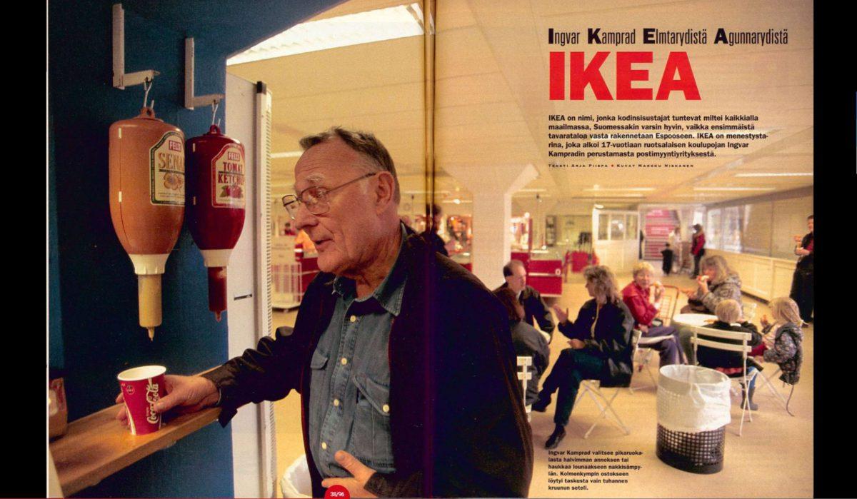 Ingvar Kamprad valitsee pikaruokalasta halvimman annoksen tai haukkaa lounaakseen nakkisämpylän. Kolmenkympin ostokseen löytyi taskusta vain tuhannen kruunun seteli.