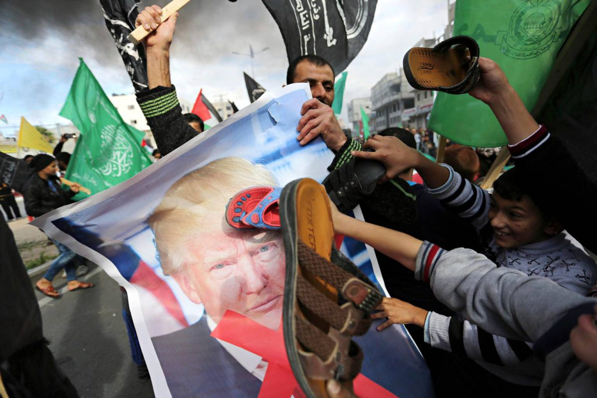 Palestiinalaiset protestoivat joulukuussa Gazan kaistalla Trumpin päätöstä tunnustaa Jerusalem Israelin pääkaupungiksi.