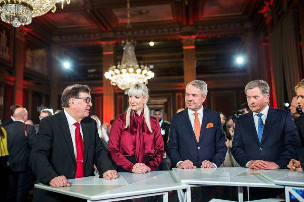 Vaalien kärkinelikko Säätytalossa: Sauli Niinistö, Pekka Haavisto, Laura Huhtasaari ja Paavo Väyrynen 28. tammikuuta.