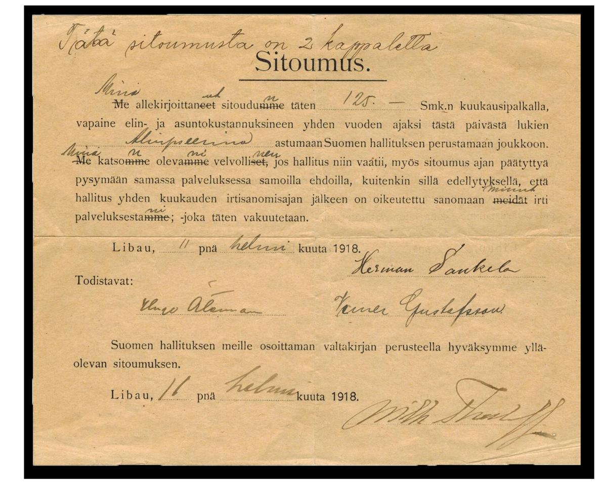 Jääkärit allekirjoittivat ennen kotimaahan paluutaan sitoumuksen, jossa lupasivat palvella vuoden Suomen hallituksen joukoissa.