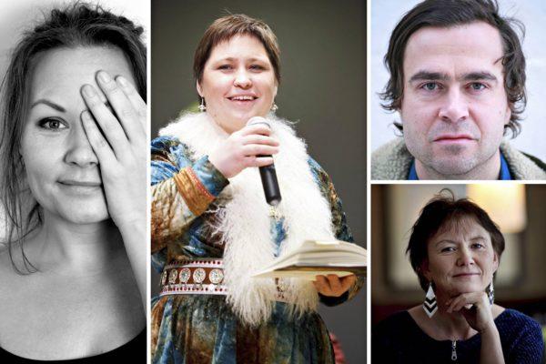 Vasemmalta oikealle: runoilijat Hege Siri, Rawdna Carita Eira, Sigbjørn Skåden ja Irene Larsen.