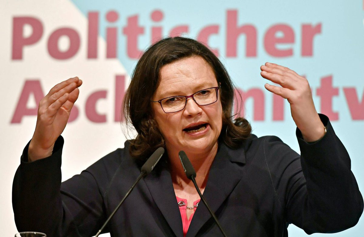 Andrea Nahles puhui Schwertessä 14. helmikuuta.