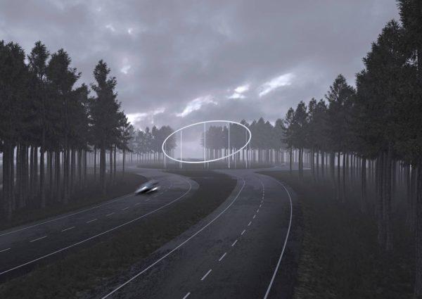 Havainnekuva Jonas Dahlbergin teoksesta Vaalimaan liikenneympyrässä.