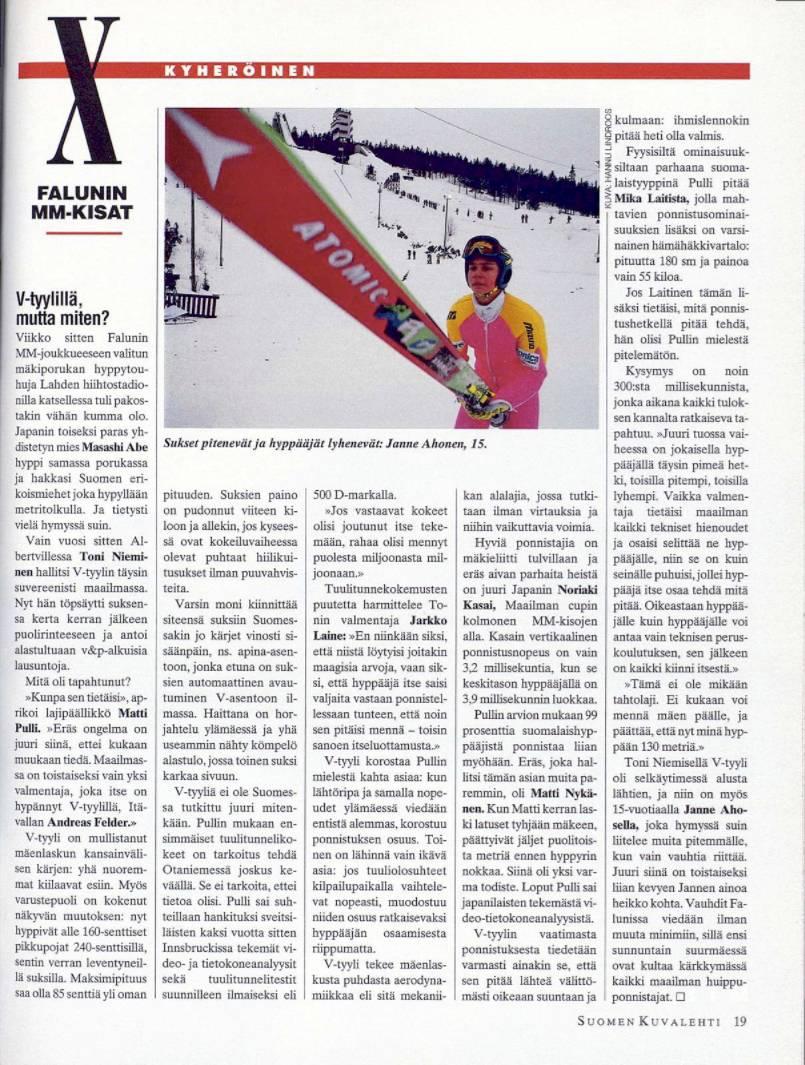 """SK 7/1993 (19.2.1993) Kari Kyheröinen: """"Falunin MM-kisat: V-tyylillä, mutta miten?"""""""