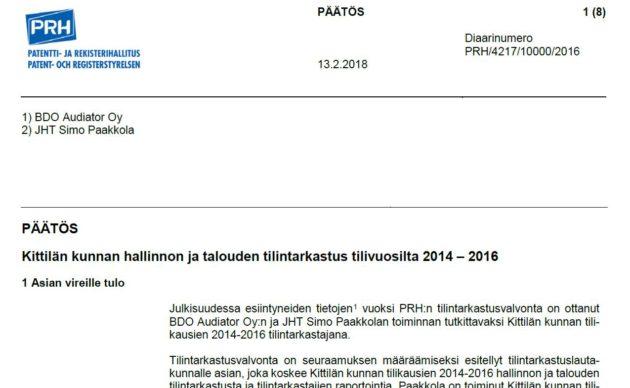 Ruutukaappaus Patentti- ja rekisterihallituksen Kittilän tilintarkastusta koskevasta päätöksestä.