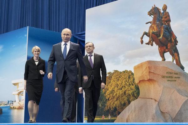 Presidentti Vladimir Putin saapui tapaamaan kannattajiaan Moskovassa 30. tammikuuta 2018.