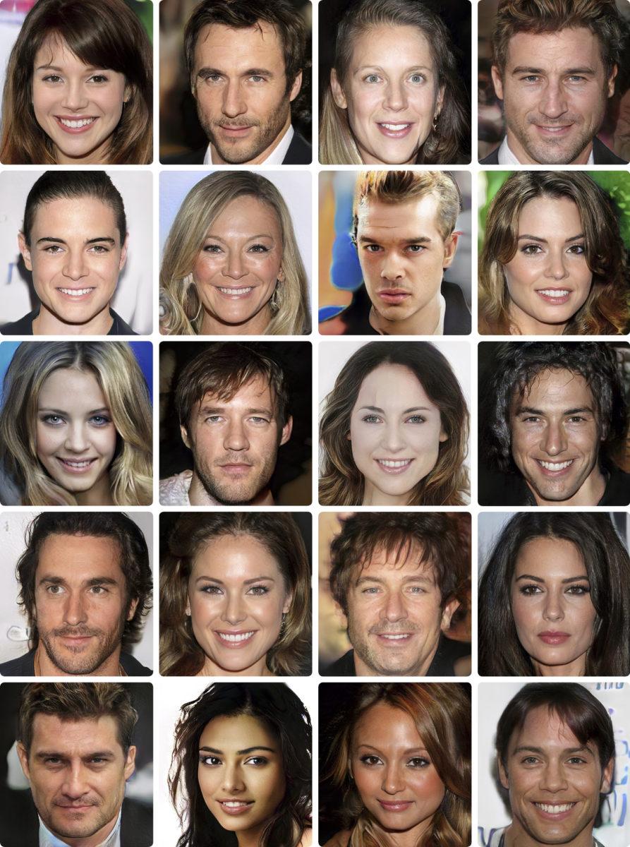 Suomalaistutkijoiden algoritmi luo fotorealistisia kasvokuvia kuvitteellisista ihmisistä, esikuvina Hollywoodin julkkikset.