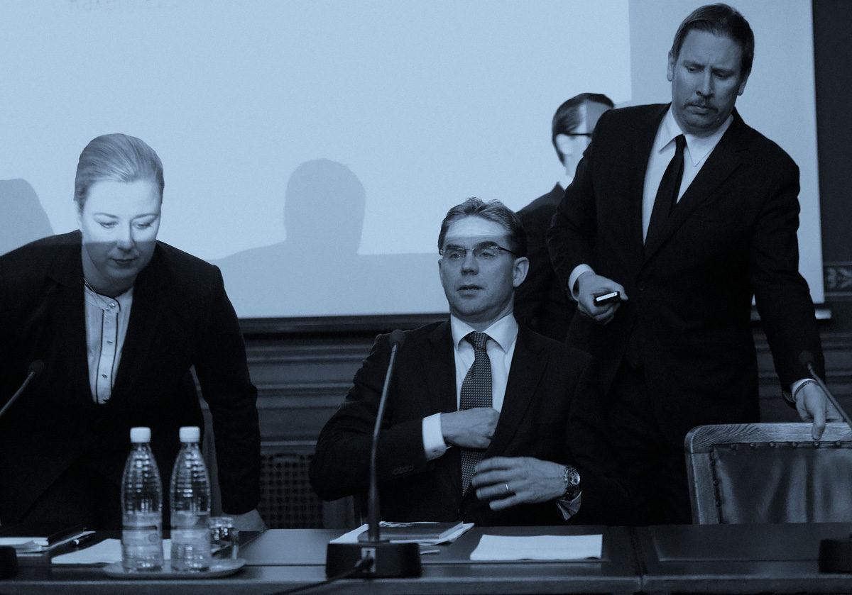 Jutta Urpilainen (vas.), Jyrki Katainen ja Paavo Arhinmäki kuuluivat veroja kiristäneeseen Kataisen hallitukseen.