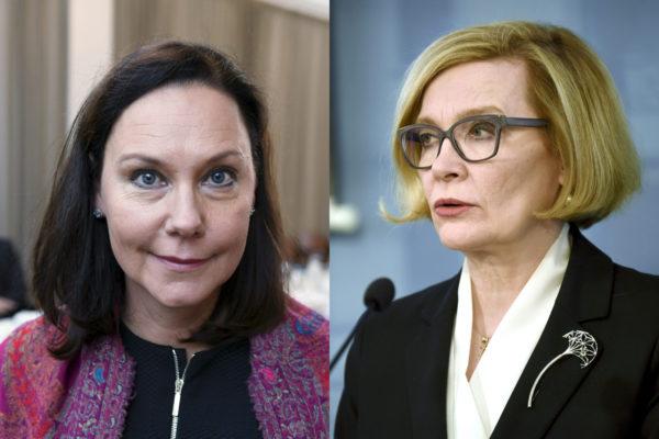 Kokoomuksen Anne-Mari Virolainen ja Paula Risikko.