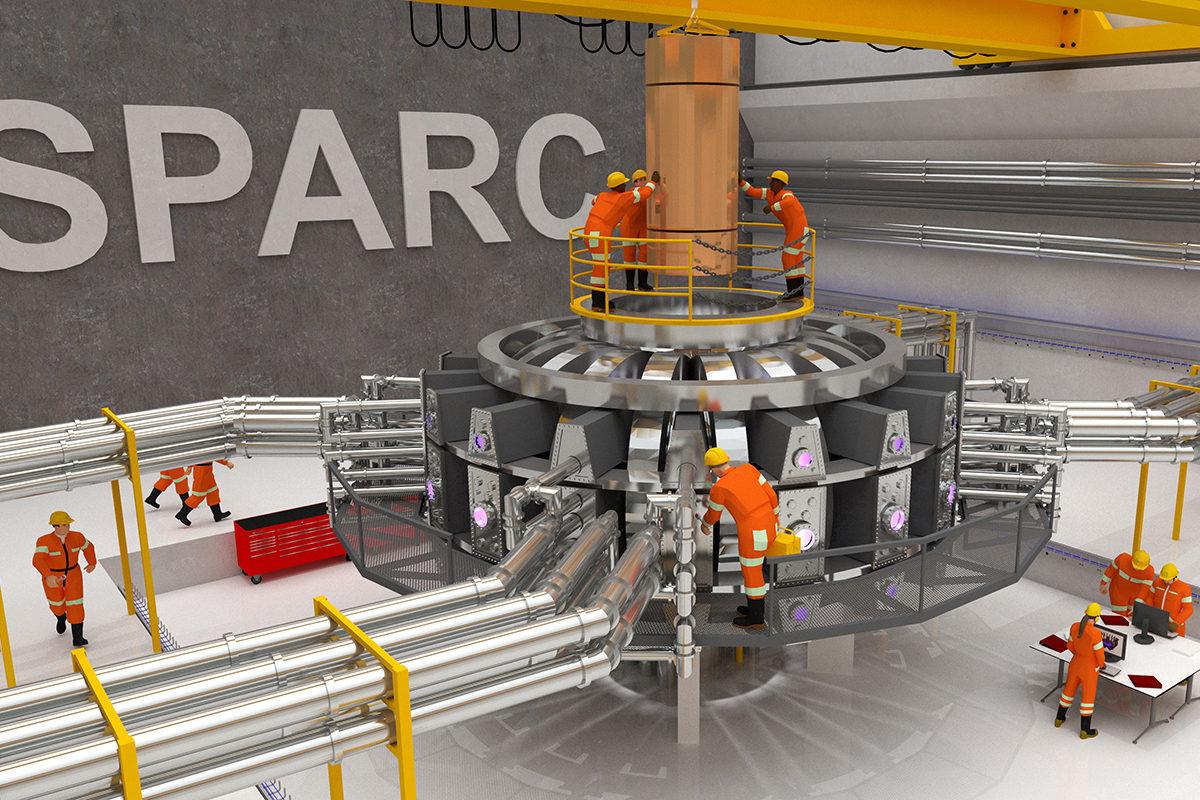 Hahmotelma donitsinmuotoisesta SPARC-fuusioreaktorista käytössä.