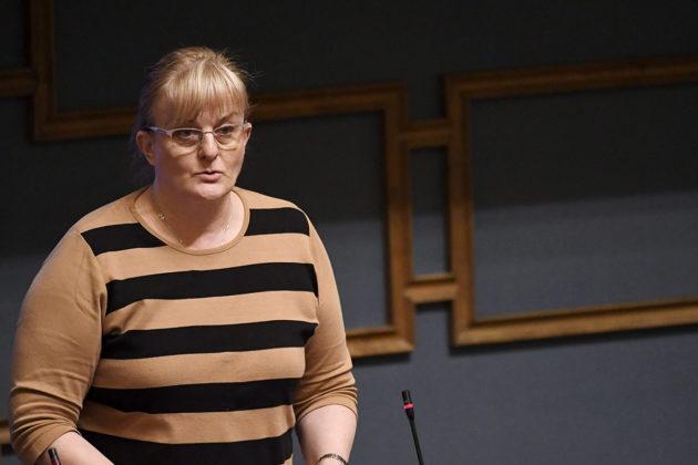 Sosiaali- ja terveysministeri Pirkko Mattila (sin) eduskunnan kyselytunnilla 8. helmikuuta 2018.