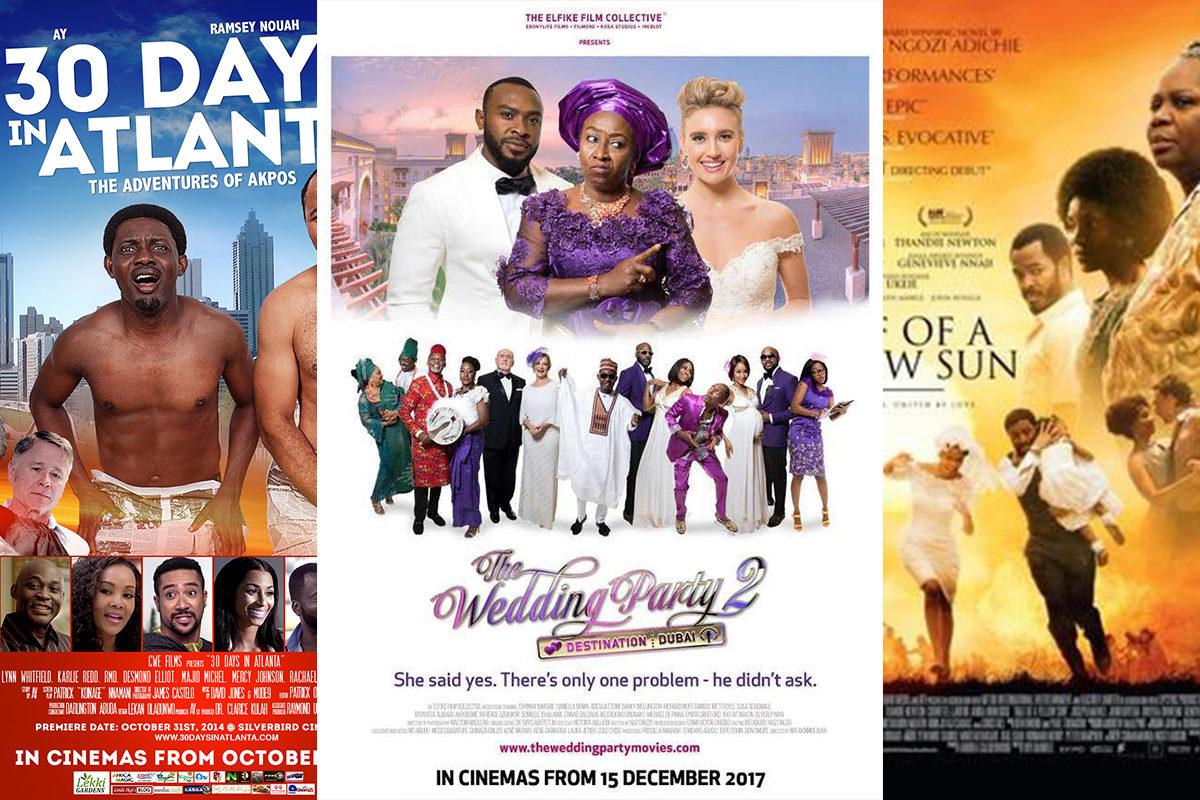Nollywoodin suurten elokuvatuotantojen julisteita.