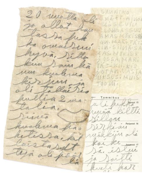 Pulloihin suljetut tekstit on kirjoitettu kalenterin sivuille, toalettiarkeille ja muille paperinpalasille.