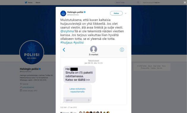 Myös poliisi varoitti varomattomasta klikkailusta tammikuussa 2018.