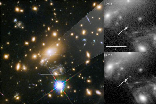 Kaukaa loistava Ikaros-tähti näkyy vähäpätöisenä pisteenä Hubble-teleskoopin ottamassa kuvassa.