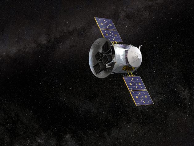 Taiteilijan näkemys TESS-avaruusteleskoopista käytössä.