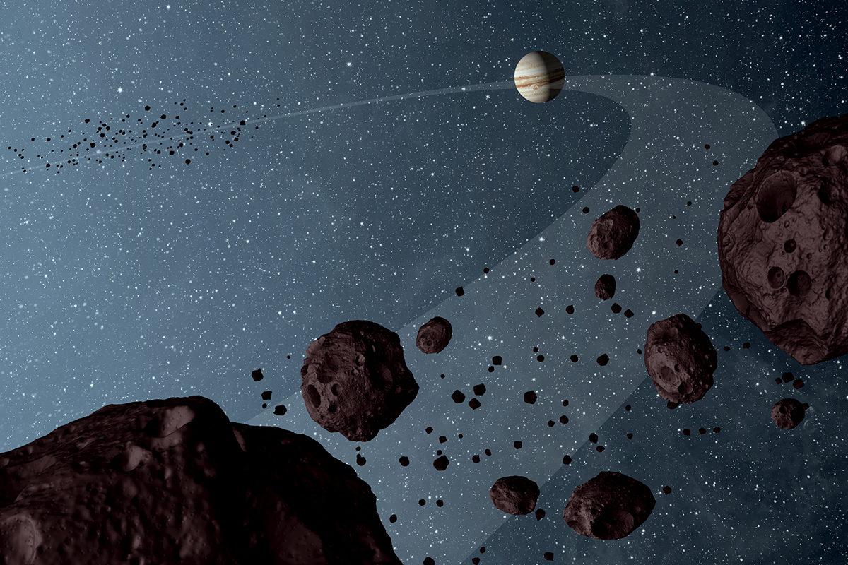 Nasan taiteilijan näkemys Jupiterin seudun asteroideista vuodelta 2012.