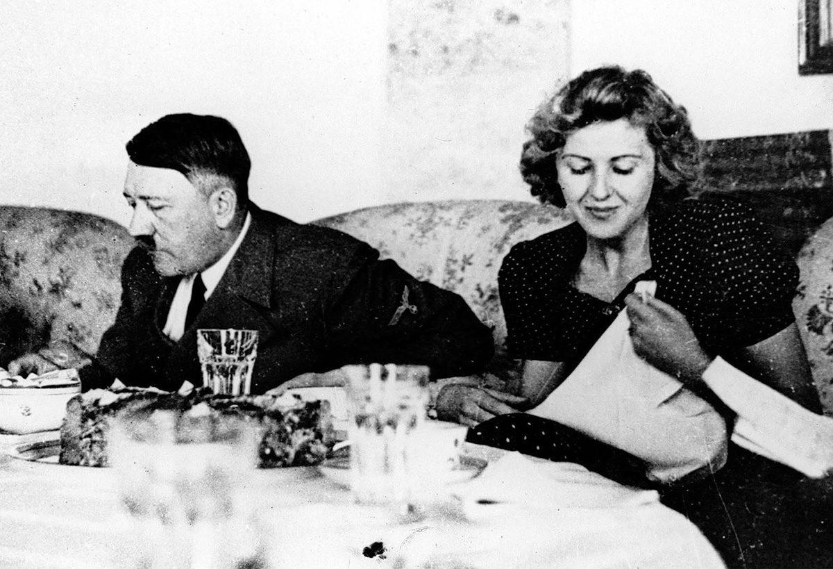 Natsi-Saksan diktaattori Adolf Hiter ja hänen rakastajansa Eva Braun.