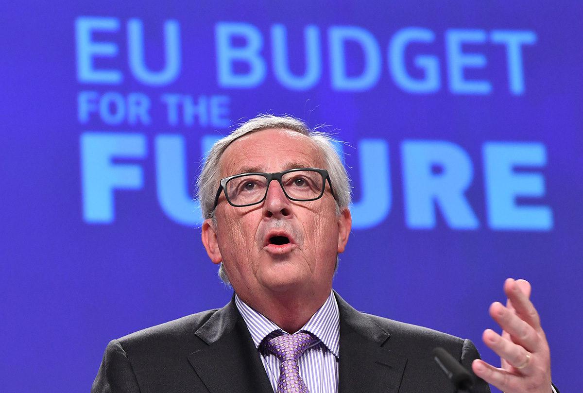 EU-komission puheenjohtaja Jean-Claude Juncker puhui EU:n budjettisuunnitelmista Brysselissä 2. toukokuuta 2018.