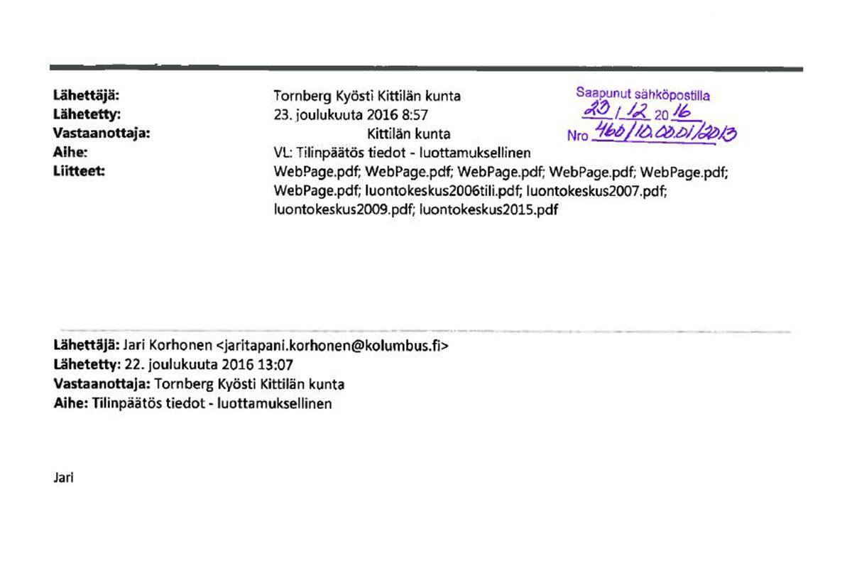 Sähköpostiviesteistä selviää, kuinka lakimies Jari Korhonen on pitänyt Levi Magic -tutkintapyyntöön liittyen yhteyttä vs. kunnajohtaja Kyösti Tornbergiin.