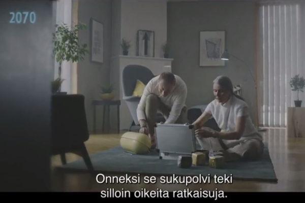 Ruutukaappaus Omamaakunta.fi-sivuston videosta, joka kehuu maakuntakuudistusta tulevaisuuden näkökulmasta.
