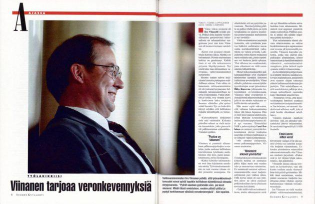 """SK 20/1993 (21.5.1993) Tuomo Lappalainen: """"Viinanen tarjoaa veronkevennyksiä"""" Kuva: Hannu Lindroos"""