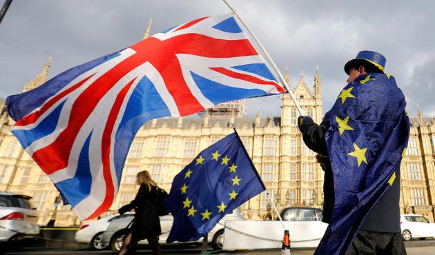Brexitiä vastustava mielenosoittaja Lontoossa 28. maaliskuuta 2018.