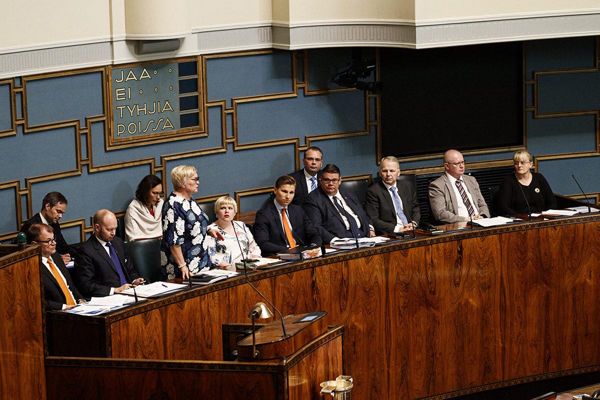 Hallitus eduskunnan suullisella kyselytunnilla Helsingissä 24. toukokuuta 2018.