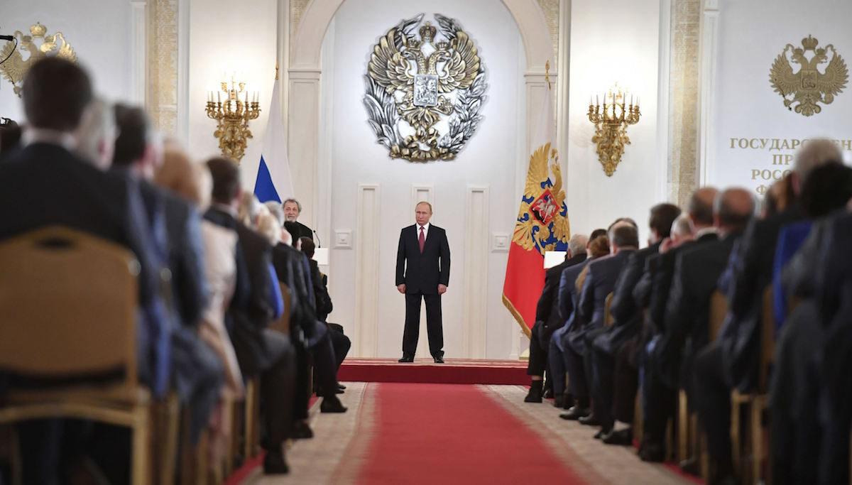 Presidentti Vladimir Putin Kremlin suuressa palatsissa tiistaina 12. kesäkuuta 2018.