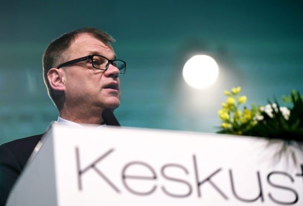 Juha Sipilä keskustan puoluekokouksen avajaisissa Sotkamossa 8. kesäkuuta 2018.