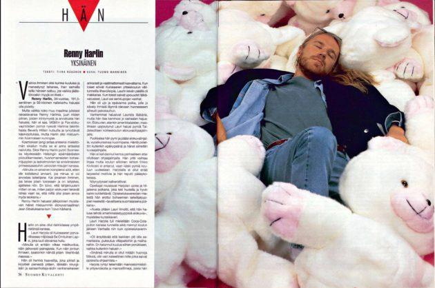 """SK 28/1993 (16.7.1991) Tiina Räsänen: """"Renny Harlin, yksinäinen"""", kuva Tuomo Manninen"""