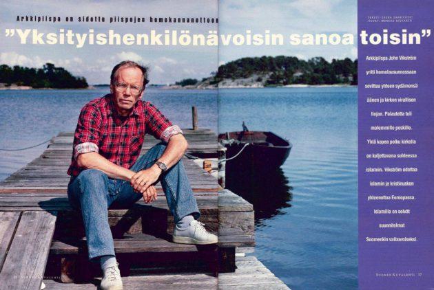 """SK 31/1993 (6.8.1993) Saska Saarikoski: """"Arkkipiispa on sidottu piispojen homokannanottoon: 'Yksityishenkilönä voisin sanoa toisin'"""" Kuva: Markku Niskanen."""