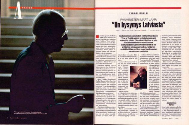 """SK 27/1993 (9.7.1993) Reijo Rutanen: """"Pääministeri Mart Laar: On kysymys Latviasta"""""""