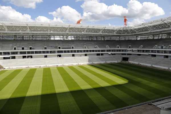 Venäjän MM-kisoja varten valmistunut Kaliningradin jalkapallostadion keskeneräisenä vuonna 2017.