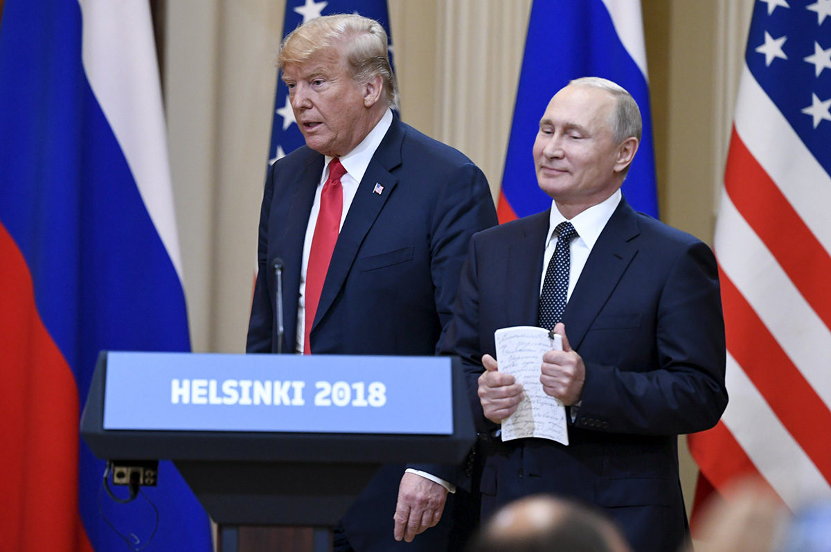 Yhdysvaltain presidentti Donald Trump ja Venäjän presidentti Vladimir Putin tiedotustilaisuudessa Helsingissä 16. heinäkuuta 2018.