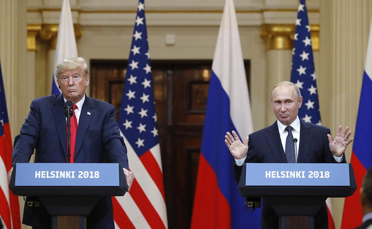 Yhdysvaltain presidentti Donald Trump ja Venäjän presidentti Vladimir Putin tiedotustilaisuudessa Presidentinlinnassa Helsingissä 16. heinäkuuta 2018.