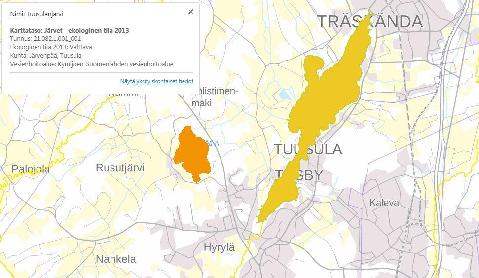 Ruutukaappaus Suomen ympäristökeskuksen kartasta, johon pääset klikkaamalla oheista linkkiä.