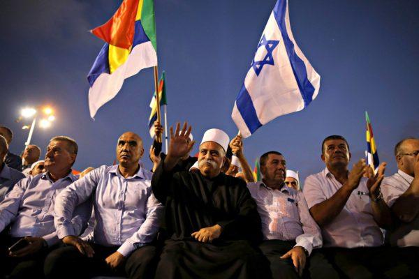 Druusit osoittivat mieltään lakia vastaan Tel Avivissa 4. elokuuta.